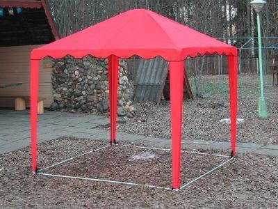 Тент садовый Беседка 2.5х2.5 м без стенокТенты Шатры<br><br> В этом шатре площадью 6,25 кв. м. комфортно разместится 7 человек.<br><br><br> Шатер-беседку 2,5 х 2,5 м с четырехскатной крышей можно использовать как павильон для торговли или летнее кафе, а также как беседку на дачном участке. Стальной каркас беседки имеет нижнее основание, все его части надежно крепятся между собой. Крестовины сделаны из утолщенной металлической трубы, что позволяет повысить устойчивость конструкции. Стропы и липучки помогают хорошо натянуть тент. <br><br><br> Для фиксации элементов каркаса, между собой, используются кнопки - защёлки. Соединительные элементы (крестовины) выполнены из стальной трубы увеличенной толщины. <br> Для этой модели Вы можете дополнительно приобрести стенки: с окном, без окна, с сеткой<br><br><br><br><br> Чтобы внутри шатра было всегда чисто, вы можете приобрести отдельно пол для этого шатра .<br><br><br> Также не забудьте купить комплект колышков , чтобы хорошо растянуть Ваш шатер и сделать его еще более крепким и ветроустойчивым.<br><br>Характеристики:<br><br><br><br><br> Вес:<br><br><br> 22 кг.<br><br><br><br><br> Водонепроницаемость:<br><br><br> 2000 мм.<br><br><br><br><br> Все размеры:<br><br><br> 2,5(Д)х2,5(Ш)х2,64(В) м. Площадь - 6,25 кв. м.<br><br><br><br><br> Высота:<br><br><br> 1,92 м. В коньке 2,64 м.<br><br><br><br><br> Каркас:<br><br><br> Стальная труба ?18 мм и ?22 мм, покрыта порошковой краской.<br><br><br><br><br> Материал:<br><br><br> Тентовая ткань Oxford 240D с водоотталкивающей пропиткой и устойчивой к воздействию солнечных лучей.<br><br><br><br><br> Обработка швов:<br><br><br> швы крыши проклеены.<br><br><br><br><br> Особенности:<br><br><br> Беседка (шатер) дополнительно может комплектоваться съемными глухими стенками, стенками с окном из прозрачной пленки и стенками с антимоскитной сеткой.<br><br><br><br><br> Цветовое исполнение:<br><br><br> синий, красный, желтый, зеленый.<br><br><br><br><br> упаковка вес кг:<br><br><br> 21<br><br><br><br>