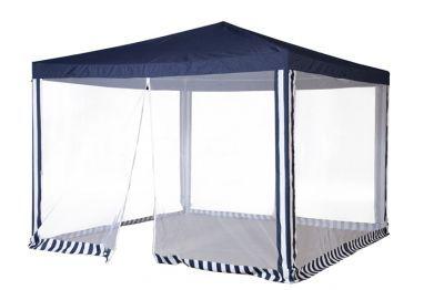 Садовый тент шатер Green Glade 1086Тенты Шатры<br><br> В этом шатре площадью 9 кв. м. комфортно разместится 10 человек.<br><br><br> Садовый тент Green glade 1086 используется для установки на открытой площадке при проведении пикника около озера, в лесу или на территории дачного участка. Изделие обеспечивает защиту компании отдыхающих от ярких палящих солнечных лучей, а также дождя. Использование тента сделает активный отдых более комфортным. Шатер прост в установке, в сложенном виде в упаковке не занимает много места, удобен при транспортировке.<br><br><br> Часто такие шатры используют как тент над бассейном, чтобы туда не попадал мусор, листва, а также чтобы защититься от солнца, а может даже и дождя. А шатры с москитными сетками еще и прекрасно защитят купальщиков от насекомых.<br> В этом шатре, диаметр вписанной окружности которого 3 м, вы сможете разместить круглый бассейн диаметром не более 2,8 м.<br><br>Характеристики:<br><br><br><br><br><br><br> Вес:<br><br><br> 11 кг.<br><br><br><br><br> Все размеры:<br><br><br> 3(Д)х3(Ш)х2,5(В) м. Площадь - 9 кв. м.<br><br><br><br><br> Высота:<br><br><br> 2,5 м.<br><br><br><br><br> Каркас:<br><br><br> Металлическая трубка 19/19/25 мм. Металлические соединения + пластиковые ножки.<br><br><br><br><br> Материал:<br><br><br> Полиэстр 160 г с ПВХ покрытием (водоотталкивающее).<br><br><br><br><br> Особенности:<br><br><br> Москитная сетка, прямой карниз. Стенки вшиты.<br><br><br><br><br> упаковка габариты см:<br><br><br> 115*20*16<br><br><br><br><br> Цветовое исполнение:<br><br><br> синий.<br><br><br><br><br>