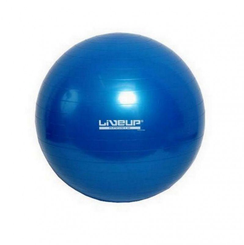 Мяч гимнастический LIVEUP 55 см с насосомФитболы<br>Хотите быть всегда в тонусе или в отличном настроении?<br><br><br><br> Мяч гимнастический LIVEUP станет Вашим верным помощником в Ваших начинаниях!<br><br><br><br><br> Мяч способствует укреплению и развитию мышц спины, пресса, ягодиц, ног и рук. Во время занятий фитнесом на гимнастическом мяче приводятся в действие мелкие мышцы-стабилизаторы, посредством которых происходит активное сжигание калорий. Беременные женщины в качестве физической подготовки к предстоящим родам также могут использовать мяч. Он разгружает позвоночник, суставы и крестец, снижает артериальное давление, улучшает кровоснабжение и общее самочувствие. Гимнастический мяч обладает функцией антивзрыв - в случае повреждения она будет медленно терять свою форму и спускаться.<br><br>Преимущества мяча<br> <br><br><br><br><br><br> Система антивзрыв   <br><br> <br><br><br> Насос в комплекте   <br><br> <br><br><br> Прочный материал   <br><br> <br><br>Способ применения<br><br> С помощью насоса накачайте мяч. Приступайте к занятиям. Если у Вас имеются какие-либо серьёзные болезни, перед началом тренировок проконсультируйтесь с врачом. Не используйте мяч вне помещений.<br><br><br> Мяч гимнастический LIVEUP - залог Вашего здоровья и отличного настроения!<br><br>Характеристики<br><br>Цвет: мяч - голубой, насос - чёрный<br><br>Материал: ПВХ<br><br>Вес в упаковке: 1 кг<br><br>Размер упаковки: 24*17*12 см. <br><br>Диаметр мяча: 55 см<br><br>Комплектация<br><br>Мяч – 1 шт.<br><br>Ручной насос – 1 шт.<br><br>Затычка - 1 шт.<br><br>Оригинальная англоязычная упаковка с русской наклейкой со штрих-кодом<br><br>Русскоязычная инструкция<br><br> <br>