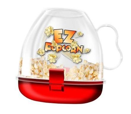 Устройство для приготовления попкорна в микроволновке EZ PopcornАппараты для приготовления попкорна<br>Ну, какой же домашний киносеанс без попкорна?<br>Приготовить порцию королевского размера проще простого с EZ Popcorn!<br><br> Устройство для приготовления попкорна в микроволновой печи EZ Popcorn состоит из двух частей: в нижнюю красную чашу засыпаются семена попкорна, а также масло, сахар, соль или сыр по желанию, верхняя часть - это прозрачный стакан с ручкой, который крепится к чаше с помощью защелок. Устройством очень легко и удобно пользоваться. Можно мыть в посудомоечной машине.<br><br>Преимущества устройства для приготовления попкорна в микроволновой печи EZ Popcorn:<br><br> • Компактность <br> • Экологичность <br> • Простота эксплуатации<br><br><br>  <br> <br><br><br> Удобное и компактное устройство для приготовления попкорна в микроволновой печи.<br><br>Отличительные особенности:<br><br><br><br>Компактность.<br>Удобство и простота эксплуатации.<br><br>Способ применения:<br><br> Насыпьте в красную чашу семена попкорна, сверху закрепите прозрачный стакан. Поставьте в микроволновку на максимальную мощность на несколько минут. Достаньте устройство из печи, переверните вверх дном, откройте защелки и снимите крышку.<br><br>Соленый, сладкий, с маслом или сыром - всего пара минут и устройство для приготовления попкорна в микроволновой печи EZ Popcorn сделает для Вас большую порцию самого любимого лакомства киноманов!<br><br>  <br> <br><br><br> Технические характеристики:<br><br><br> Вес в упаковке: 300 гр. <br> Размер упаковки: 15*15*15 см<br><br> <br>