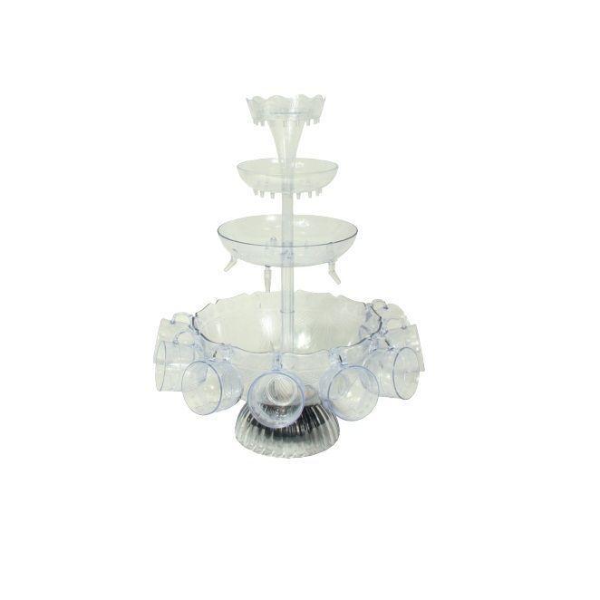 Фонтан для напитков Party FountainТовары для кухни<br>Хотите всех поразить на вечеринке чем-то необычным?<br><br><br><br>Создайте особую атмосферу при помощи фонтана для напитков Party Fountain!<br><br><br><br>  Внутрифонтана имеется встроенный насос, благодаря которому жидкость поднимается вверх и струйками стекает по чашам, расположенным одна под другой. Наливайте в фонтан коктейли, вино, газированную воду или соки – любые напитки на Ваш вкус – прибор с лёгкостью заменит официанта на Вашей вечеринке! Вам остается лишь подставить свою кружку или бокал под ароматные струи напитка. Приятная led-подсветка фонтана поможет создать на вечеринке романтическую атмосферу.<br>        <br>      <br><br>  <br>      <br>    <br><br>  <br>      Эффектное приспособление, которое сделает ярким любой праздник, придаст ему неповторимость и оригинальность.Фонтан для напитков будет привлекать гостей и сделает любой напиток ещё вкуснее.<br>    <br>      <br>    <br>      <br>    <br>      <br>    <br>      <br>    <br>      Сделайте праздник незабываемым!<br>          <br>        <br>    <br>      Отличительные особенности:<br>    - 3 яруса разного размера<br>      <br>    - Встроенная подсветка<br>        <br>      - Работа от сети<br>          <br>        - 8 кружек в комплекте<br><br>  <br>          <br>        <br><br>  <br>              Способ применения:<br>            <br>          <br>        <br>              <br>            <br>              Соберите фонтан. Установите его на ровную поверхность. Налейте напиток до линии, отмеченной на чаше. Подключите фонтан к сети и включите его при помощи рычажного переключателя.<br>            <br>          <br>        <br>            <br>                <br>              <br>          <br>            Фонтан для напитков Party Fountain - вечеринка на ура!<br>          <br>            <br>                <br>              <br>          <br>            Комплектация:<br>          <br>            Фонтан для напитков – 1 шт.<br>                