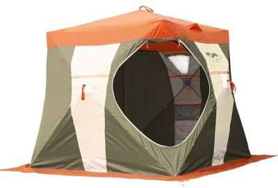 Палатка рыбака Нельма Куб-2Палатки Нельма<br><br> Палатка рыбака Нельма-Куб 2 отличается оригинальным дизайном. Оранжевый верх купола палатки виден издалека днем и хорошо замечен ночью (при горящем фонаре, лампе, свече). Прочный каркас из из дюралевого прутка диаметром 8 мм. обеспечивает долговечность и прочность палатки, а ткань Oxford 240T 2000PU с водоотталкивающей пропиткой необходимую защиту от ветра и осадков.<br><br><br> Светлая ткань по центру стенки палатки обеспечивают отличное освещение внутри в снегопад и пасмурную погоду. <br><br><br> Светоотражающие элементы на стенках издали видны в свете фар снегоходов и автомобилей даже при отсутствии внутренней подсветки. <br><br><br> Четыре прочные петли оттяжки на стенах палатки и четыре  петли по углам юбки позволяют надежно закрепить палатку на льду. <br><br><br> Широкая замкнутая юбка полностью исключает поддув холодного воздуха снаружи.<br><br><br> Углы палатки из немаркой ткани темных оттенков.<br><br><br> Имеются несколько вентиляционных окон: два под куполом для выхода угарного газа, нижние для обеспечения конвекции воздуха. <br><br><br> Два больших обзорных окна, закрывающиеся изнутри шторкой на молнии и снабженных отстегивающейся на липучке морозостойкой оконной пленкой. <br><br>Характеристики<br><br><br><br><br> Вес:<br><br><br> 8 кг.<br><br><br><br><br> Водонепроницаемость:<br><br><br> 2000 мм.<br><br><br><br><br> Все размеры:<br><br><br> 205*205 см.<br><br><br><br><br> Высота:<br><br><br> купола - 190 см. // стенки - 170 см.<br><br><br><br><br> Гарантия:<br><br><br> 6 месяцев.<br><br><br><br><br> Каркас:<br><br><br> дюралевый прут, диаметр 8 мм.<br><br><br><br><br> Материал:<br><br><br> Oxford 240Т 2000PU.<br><br><br><br><br> Особенности:<br><br><br> вторую молнию входа открывать после установки растяжек за петли стенок, прилегающих ко входу.<br><br><br><br><br> Площадь:<br><br><br> 4,2 кв.м.<br><br><br><br><br> упаковка габариты см:<br><br><br> 140*20*20<br><br><br><br><br>