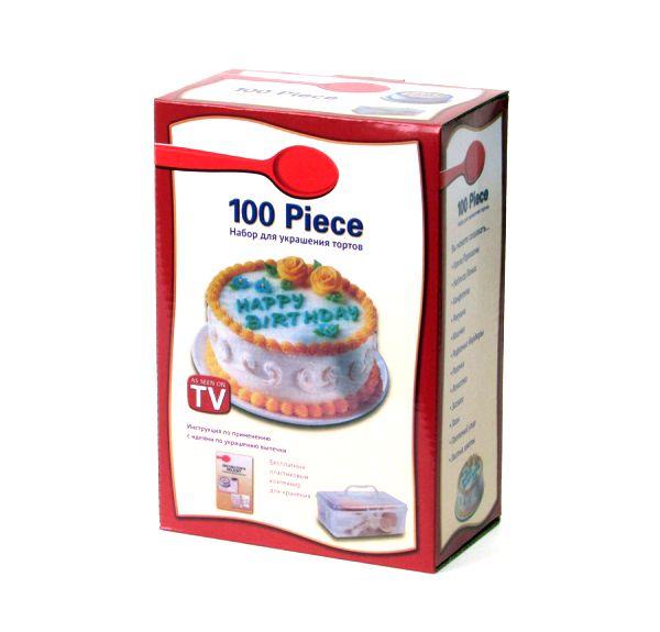 Набор для украшения тортов 100 Piece Cake Decoration KitНаборы для украшения<br>Набор для украшения тортов 100 Piece Cake Decoration Kit<br> <br>Довольно сложно найти человека, равнодушно относящегося к кондитерским изделиям. Тортики и пирожные любят все без исключения. А домашняя выпечка — это не только вкусно, но и полезно. Ведь только так можно быть уверенным, что в сладкий шедевр попали продукты исключительно высокого качества. «Кондитерка» собственного изготовления не только намного вкуснее магазинной, но еще и гораздо дешевле.<br> <br>Многие женщины отказываются от домашней выпечки в пользу покупной только по той причине, что магазинные изделия невероятно красивы и могут украсить любой стол. Теперь это в прошлом! С набором для украшения тортов «100 Piece Cake Decoration Kit» всякая девушка сможет почувствовать себя настоящим кондитером. Стоит купить этот удивительный комплект и ваш скромный тортик превратится в настоящий кондитерский шедевр. Вы будете получать только хвалебные отзывы окружающих.<br> <br>  <br> <br>Что входит в комплект<br> <br>Если вы решили украсить именинный торт, вам не обойтись без «100 Piece Cake Decoration Kit». Это целый кондитерский комплекс из огромного количества предметов. Особые фигурные отверстия и прорези позволяют создавать настоящие картины из кремов и шоколада.<br> <br>В кондитерский набор для украшения тортов входит:<br> <br> <br>  Треугольный нож с узорчатым, прямым и зубчатым краем пригодится для выравнивания поверхности изделия и нанесения необычных узоров.<br> <br>  15 индивидуальных пластиковых мешочков для шоколада, глазури или крема.<br> <br>  Аппликатор (универсальный) для декорации боковин торта или нанесения узоров.<br> <br>  Переходное колечко для закрепления фигурных диффузоров на кондитерском пакете.<br> <br>  Различные насадки-диффузоры для крема (7 шт.) при помощи которых можно создавать украшения из кремовой или шоколадной массы. Насадки имеют прорезные отверстия в форме звездочек, кругов, листиков, цветов и л