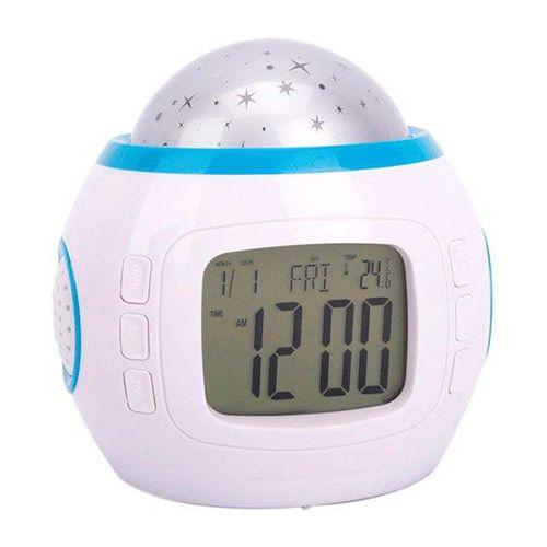 Часы с музыкальным будильником и проектором звездного небаНочники-проекторы<br><br>Часы с музыкальным будильником и проектором звездного неба <br><br> Музыкальные часы с будильником станут Вашим лучшим другом, помогая быстро и приятно уснуть, а утром - с удовольствием встать. Шикарный подарок для ребенка.<br><br><br> Это не только удобные многофункциональные часы, но и проектор ночного звездного неба. Просто нажмите на кнопку и вся Ваша комната наполнится разноцветными звездами под приятное звучание музыки. Создавшаяся атмосфера поможет детям уснуть, а влюбленным - оторваться от реальности и дотянуться до небес.<br><br><br> Встроенные функции:<br><br><br>жидкокристаллический дисплей, отображающий точное время и дату (день/месяц/год);<br><br>2 динамика;<br><br>термометр со шкалой температур: Цельсия (0?C - 50 ?C) и Фаренгейта (32?F - 122?F);<br><br>24-часовой и 12-часовой формат исчисления времени;<br><br>13 приятных мелодий;<br><br>«отложить» будильник (от 1 до 60 мин);<br><br>обратный отсчет времени (00:00:00-23:59:59);<br><br>включения/выключения, в любой момент, одной из встроенных мелодий. Каждой мелодии соответствует свой, неповторимый, способ проецирования звездного неба. Встроенные светодиоды, по разному, в зависимости от выбранной мелодии, как бы под музыку, медленно или быстро меняют друг-друга, проецируя при этом на потолок и стены Вашей комнаты Звездное небо. Всего 3 светодиода: синего, красного и зеленного цветов, которые своей игрой создают еще 3, дополнительных, цвета: фиолетовый, бирюзовый и желтый;<br><br>установка продолжительности работы музыкального проектора звездного неба (от 10 до 60 мин);<br><br>подсветка дисплея.<br><br>Характеристики<br><br><br><br><br><br><br><br> Питание: 3 батарейки типа ААА (не входят в комплект). В комплект входит инструкция по эксплуатации (англ.).<br><br> <br><br><br> Размеры товара: длина: 10,5 см; ширина: 8,8 см; высота: 10,7 см.<br><br> <br><br><br> Вес: 0.16 кг.<br><br> <br><br><br><br><br> <br><br>