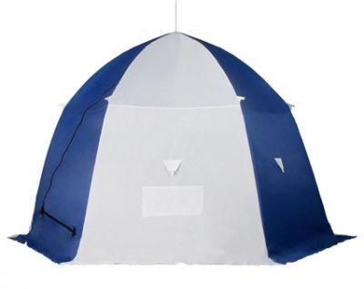 Палатка рыбака Пингвин 4Рыболовные палатки<br><br> Несмотря на свои большие для зимних палаток размеры, палатка рыбака Пингвин 4 устойчива на любом ветру, и собирается/разбирается меньше минуты, как и другие палатки серии ПИНГВИН™. Эта модель популярна у любителей рыбачить компанией, можно разместиться втроем и даже вчетвером. В тенте имеется форточка в виде молнии на крыше, два кармана в верхней части тента под снасти и два сдвоенных кармана с сеткой в нижней части тента. Основной цвет белый с цветной крышей, порогами и дверью, снаружи имеются светоотражающие элементы, что очень важно для безопасности на льду в темное время суток. Удобный фирменный чехол позволяет свободно уложить после рыбалки даже обмерзшую палатку! Обратите внимание, что тент не обладает дышащими свойствами. Для циркуляции воздуха внутри палатки рекомендуем использовать форточку в виде молнии на крыше или верхний бегунок на входной двери. Также мы рекомендуем укрепить данную палатку растяжками, независимо от наличия ветра. <br><br><br>Инструкция по установке зимней палатки Пингвин 4 (1-сл.): <br><br> 1. Вынуть зимнюю палатку Пингвин 4 (1-сл.) из чехла, откинуть нижние спицы палатки и расстегнуть застежку-молнию.<br><br><br> 2. Встав одной ногой через порог, поднять укрытие ото льда.<br> 3. Раздвинуть спицы изнутри и освободить шарниры от возможного перехлёста тента.<br> 4. Нажать одной рукой изнутри вверх на нижнее крепление спиц, а другой снаружи на верхнее крепление вниз до полного раскрытия.<br> 5. Установить раскрытое укрытие над заранее просверленными лунками таким образом, чтобы вход палатки находился с подветренной стороны.<br> 6. Закрепить растяжками на льду и присыпать снегом пороги тента.<br> <br> Застежка-молния должна закрываться и открываться без усилий. Если этого сделать не удаётся, то необходимо:<br> - установить укрытие на ровной поверхности;<br> - расправить тент на каркасе;<br> - отрегулировать натяжение тента (регулируется нижними вязками в местах крепления тента к каркасу по