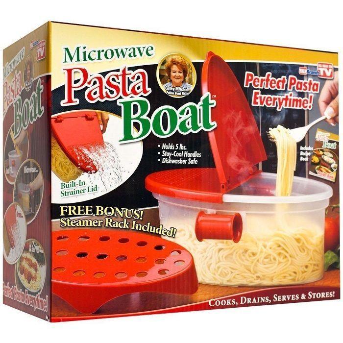 Контейнер для приготовления макарон в микроволновой печи Pasta Boat (Паста Боат)Товары для кухни<br>Хотите приготовить свои любимые макароны и при этом сэкономить время?<br><br>Тогда контейнер для приготовления макарон в микроволновой печи Pasta Boat - это то, что Вам нужно!<br><br>Теперь варить макароны можно прямо в микроволновой печи – в этом удобном контейнере! Он снабжен специальными отверстиями, через которые удобно сливать воду с уже готовых спагетти. Контейнер подходит не только для варки: его можно смело использовать для приготовления самых разнообразных блюд из макаронных изделий, например, спагетти с сыром, соусом или запеканки. В этом контейнере спагетти не перевариваются и получаются очень вкусными!<br><br>Преимущества контейнера для приготовления макарон в микроволновой печи Pasta Boat:<br>• Пластиковый дуршлаг<br>  <br>• Удобство использования<br>  <br>• Экономия времени<br><br>      <br>    <br><br><br>  Контейнер для приготовления макарон поможет быстро и легко приготовить это блюдо в микроволновой печи.<br><br>  Отличительные особенности:<br><br>  <br>    Пластиковый дуршлаг<br>  <br>    Держатель для спагетти<br>  <br>    Слив для воды<br>  <br><br><br><br>        <br>      <br>  <br><br>  Способ применения:<br><br>  Положите нужное количество макаронных изделий в контейнер, залейте водой и поставьте в микроволновую печь на несколько минут. Слейте воду через пластиковый дуршлаг.<br><br>  Контейнер для приготовления макарон в микроволновой печи Pasta Boat - готовим пасту, спагетти, макароны легко, быстро, вкусно и без лишней посуды!<br><br><br><br>    <br>  <br><br>Технические характеристики:<br><br>Вес в упаковке: 470,1 гр.<br>