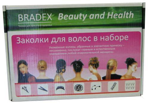 Заколки для волос в наборе СТО ПРИЧЁСОК Hairagami, Bradex (Брадекс), для длинных волосЗаколки для волос<br>Набор заколок СТО ПРИЧЁСОК Bradex (Нairagami)<br>   Смотреть все виды Заколок для волос Hairagami <br>    <br>    <br>Модная, стильная и оригинальная прическа — непременное условие ухоженной внешности. А какая женщина не мечтает быть красивой? К сожалению, ежедневное посещение парикмахерской обходится весьма недешево и по карману далеко не всем. Но если у вас есть заколка для волос Хеагами, вы всегда будете выглядеть стильно и оригинально. Немного тренировки и ваши волосы будут выглядеть так, будто побывали в руках опытного парикмахера.<br>    <br>Что такое заколка Hairagami<br> <br>Заколка для волос Хэагами — не просто аксессуар. Это целый набор для создания удивительных причесок.<br> <br> <br>  Hairagami твистер — металлическая пластина. Небольшое усилие — и заколка сворачивается в спираль, а затем в круг.<br> <br>  Pizzazz — специальное приспособление для быстрого и четкого разделения волос на фигурные проборы.<br> <br>  Monkey Bands («когти обезьяны») — жесткая спиралевидная конструкция, позволяющая моделировать различные укладки.<br> <br>  Le Loom — судя по отзывам девушек плетение французских косичек с этой заколкой занимает несколько минут. Также быстро можно сделать «рыбий хвост».<br> <br>  W-образные шпильки — надежно фиксируют волосы.<br> <br>  Спиральные кольца — крепко удерживают подобранные кверху волосы на протяжении всего дня.<br> <br>  Многоуровневая заколка для волос Hairagami — позволяет за несколько минут сделать оригинальную укладку, не хуже, чем в салоне.<br> <br> <br>Отзывы девушек однозначны: заколка для волос Хэагами — лучший набор для формирования стильных и оригинальных образов! Стоит купить Hairagami и вы надолго забудете о посещении салонов и парикмахерских.<br> <br>6 плюсов оригинальных заколок СТО ПРИЧЁСОК от Bradex Нairagami<br> <br><br> <br> <br>  Заколка для волос Хеагами совершенно не вредит волосам. Вы можете использовать ее к