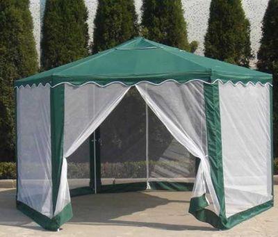 Садовый тент шатер Green Glade 1003Тенты Шатры<br><br> В этом шатре площадью 10,4 кв. м. комфортно разместится 12 человек.<br><br><br> Тент шатер Green Glade 1003 отличный способ сделать свой отдых на природе максимально комфортным. Он надежно защитит вас от палящего солнца. В нем Вас не будут беспокоить всевозможные мухи, комары, да мошки. Вместе с этим тентом ваш отдых на природе, безусловно, станет более приятным.<br><br><br> Тент шатер Green Glade 1003 по сути заменяет дачную беседку и превосходит ее во многих вопросах. Тент можно передвигать по участку и вовсе убирать, когда в нем нет необходимости. В то время как беседка – конструкция стационарная, что не очень удобно, если площадь вашего дачного участка небольшая.<br> Тент шатер Green Glade 1003 – универсален.Используйте его во время любых вылазок на природу: в походе, на пикнике, в кемпинге.<br><br><br> Садовые шатры давно стали обязательным атрибутом дачного участка. Но, к сожалению, не у всех есть место для постройки стационарной беседки. Значит тент шатёр Green Glade 1003 - это именно то, что Вам нужно! Поставьте его на всё лето, ведь что может быть лучше завтрака на свежем воздухе. А если Вам необходимо больше свободного места, то Вы без труда уберете его.<br><br><br><br><br> Дачный тент Green Glade 1003 от солнца отлично подходит для:<br><br><br> • Приёмов пищи на открытом воздухе;<br><br><br> • Посиделок с друзьями;<br><br><br> • Игр детей (им не будет страшно яркое солнце или комары);<br><br><br> • Прекрасно подойдёт для организации небольших мероприятий, например, дня рождения;<br><br><br> • Можно установить внутри надувной бассейн, чтобы в него не попадала листва и не залетали насекомые. Поставьте рядом лежаки и Вы уже на курорте!<br><br><br><br><br> Шатер Green Glade 1003 имеет удобную форму шестиугольника с площадью чуть больше 10 кв. метров, за счет которой улучшается эргономика. А также он со всех сторон оснащен москитными сетками, что является очень важной особенностью для летнего отдыха. Ведь 