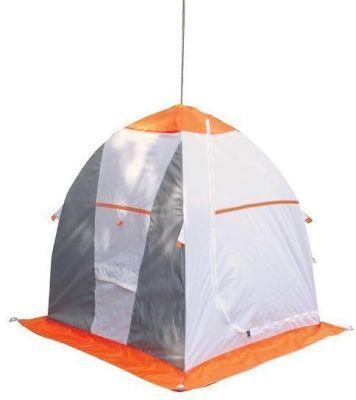 Палатка рыбака Нельма 1 (автомат)Палатки Нельма<br><br> Палатка рыбака Нельма 1 (автомат) отличается эргономичным дизайном и разработана на быстроразборном каркасе зонтичного типа, выполненного из высококачественного материала (дюралевый пруток марки В-95Т1), что обеспечивает необходимую устойчивость и удобство эксплуатации. При изготовлении тента данного изделия использовано сочетание тканей-компаньонов, обладающих водоотталкивающими свойствами, необходимой гигроскопичностью и светопроницаемостью (Оxford 240T PU 2000 мм), что обеспечивает комфортные условия для проведения зимней рыбалки, исключая появление конденсата внутри палатки. Она разработана с учетом всех требований безопасности и комфорта рыбака, предъявляемых к зимней палатке. В итоге модель получила простоту и легкость в обслуживании и при транспортировке.<br><br><br> Палатка в собранном виде находится в удобной сумке-переноске из той же ткани, из которой сшита палатка.<br><br><br> Яркий купол делает палатку заметной. Для безопасности в темное время суток палатка оснащена светоотражающими элементами.<br><br><br> Петли для оттяжки позволяют надежно укрепить палатку на льду, что особенно важно, когда погода ветреная. Палатка также имеет клапаны для вентиляции, большую дверь на молнии, внутренние карманы для хранения рыболовных принадлежностей и пластиковую петлю под куполом, чтобы подвесить фонарь.<br><br><br> Применение замкнутой юбки с внешней стороны Нельмы 1 (ширина 20 см) обеспечивает плотное соединение с поверхностью и предохраняет от влияния внешних факторов. <br><br><br> Вентиляционный клапан, расположенный напротив входа, обеспечивает дополнительный приток воздуха. <br><br><br> Палатка имеет доступную цену, обладая при этом всеми необходимыми для зимней рыбалки характеристиками. Палатка легко собирается и разбирается силами одного человека.<br><br>Характеристики<br><br><br><br><br> Вес:<br><br><br> 3,5 кг.<br><br><br><br><br> Водонепроницаемость:<br><br><br> 2000 мм.<br><br><br><br><br> Все размеры