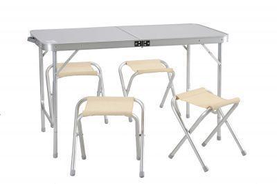 Набор мебели для пикника Green Glade 5102Кемпинговая мебель<br>Для пикника удобнее использовать малогабаритную складную мебель, которую можно было бы не только перевезти на автомобиле, но и перенести силами одного человека. Поскольку на пикник собираются, как правило, несколько человек, то удобнее использовать мебель в наборе. Набор мебели для пикника Green Glade 5102, включает в себя стол (складывающийся в чемодан) и четыре табурета. Размер стола позволит комфортно разместится за ним вчетвером. Небольшой вес и удобная ручка позволят доставить его к месту отдыха одним человеком. Проведя исследование рынка, и проанализировав мнение потребителей, был выведен габаритный размер данного набора мебели.<br>Характеристики<br><br><br><br><br> Вес:<br><br><br> 6,3 кг.<br><br><br><br><br> Все размеры:<br><br><br> Стол - 120*60*70 см; Стул - 29*27*37 см.<br><br><br><br><br> Гарантия:<br><br><br> 6 месяцев.<br><br><br><br><br> Каркас:<br><br><br> алюминий 24 мм.<br><br><br><br><br> Материал:<br><br><br> столешница МДВ, покрытие меламин.<br><br><br><br><br> упаковка габариты см:<br><br><br> 61*61*10<br><br><br><br><br>