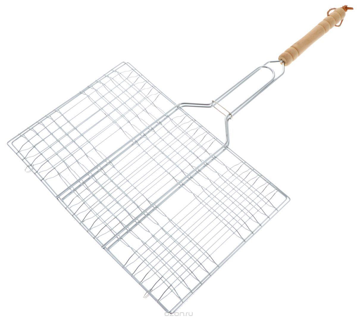 Решетка для барбекю Отдых (22*34*1,5 см)Товары для отдыха<br>Ищите замену традиционным шашлыкам?<br><br><br>Готовьте с помощью решётки для барбекю «Отдых»!<br><br><br> <br><br>Решётка используется для приготовления блюд из мяса, курицы, рыбы или овощей на углях. Решётка выполнена из стальной хромированной проволоки, ручка - из дерева, благодаря чему она не нагревается. На ручке также имеется кольцо, позволяющее зафиксировать решётку в нужном положении. <br><br>  <br> <br><br><br>Преимущества решётки:<br><br> <br> - Прочный долговечный материал <br> - Не нагреваемая деревянная ручка <br> - Фиксирующее кольцо на ручке<br><br> <br> <br><br><br><br><br>Неотъемлемый атрибут «вкусного» отдыха на природе. С помощью решётки для барбекю Вы приготовите большую порцию вкусных и ароматных овощей, мяса или рыбы.<br><br> <br><br><br><br><br> <br><br><br><br><br><br>Готовьте на природе с удобствами!<br><br>Отличительные особенности:<br><br><br>– Не нагреваемая деревянная ручка  <br> – Фиксирующее кольцо на ручке  <br> – Материал: металл хромированный  <br> – Размер решетки 22х34 см, высота бортика 1,5 см<br><br>  <br> <br>Способ применения:<br>  <br><br>Положите мясо, рыбу или овощи на решётку и зафиксируйте. Положите решётку на угли или мангал. <br><br><br> <br><br>  Приготовьте вкусное ароматное мясо или рыбу с решёткой для барбекю «Отдых»!<br><br> <br> <br><br><br>Комплектация:<br><br><br>Решетка для барбекю - 1 шт. <br> Русскоязычная упаковка с русской наклейкой со штрих-кодом<br><br><br> <br> <br><br><br>Технические характеристики:<br><br><br>Цвет: стальной, бежевый <br> Материал: Металл хромированный <br> Вес: 0,48 кг <br> Длина: 57 см <br> Ширина: 35 см <br> Высота: 1.5 см<br><br> <br><br>