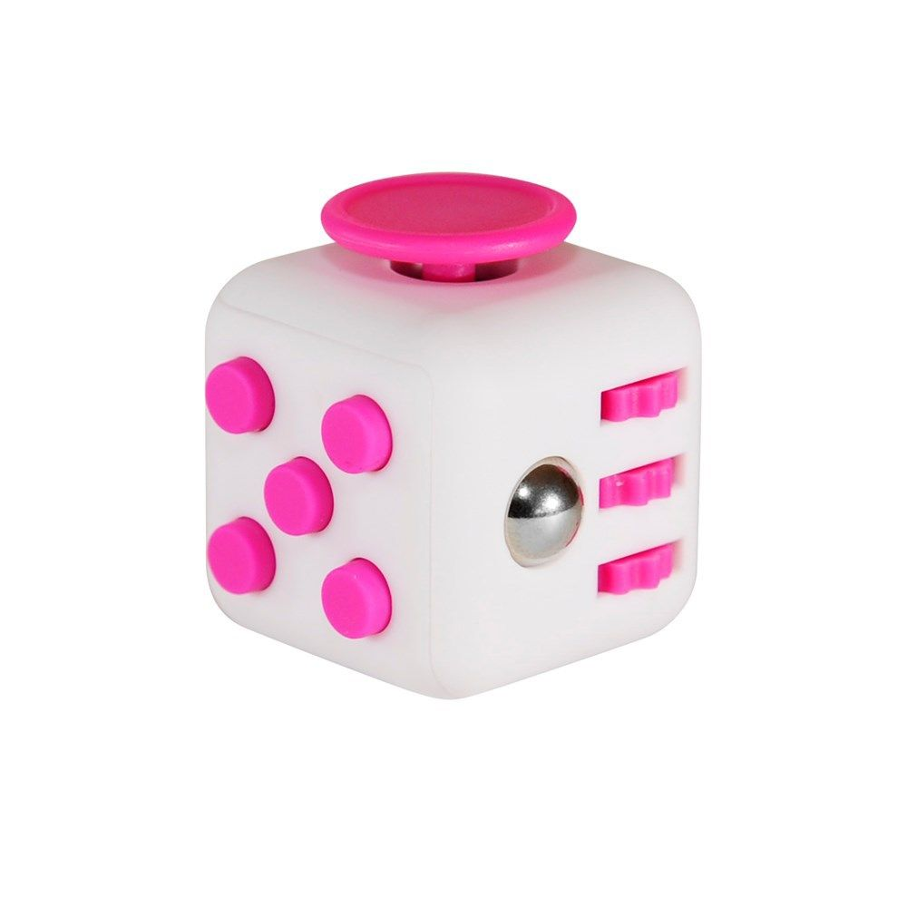 Кубик-антистресс Fidget Cube белый-розовыйКубики Антистресс Fidget Cube<br>Кубик-антистресс Fidget Cube (Фиджет Куб) белый-розовый<br> <br>Каждый человек хотя бы раз в жизни испытывал состояние напряжения и бесконтрольной двигательной активности. Вы тоже клацаете ручкой на важном совещании или «хрустите» пальцами в стрессовые моменты? Стоит купить антистрессовый кубик Fidget Cube белый-розовый и ваше поведение перестанет раздражать окружающих. Это замечательное приспособление как раз создано для того, чтобы расслабиться в сложные моменты или сосредоточить внимание, когда это необходимо. Кубик-антистресс имеет миниатюрные размеры и не займет много места в вашем кармане.<br>   <br>Кому нужен кубик-антистресс<br> <br>Давно известно, что тренировка мелкой моторики рук способствует развитию головного мозга как у детей, так и у взрослых. Но если малыши могут удовлетворить эту природную потребность, играя с мелкими игрушками или перебирая пуговицы, то у взрослых дела обстоят сложнее. Для них настоящим спасением является кубик антистресс Fidget Cube белый-розовый, по отзывам пользователей являющийся просто идеальным решением.<br> <br>Стильный и недорогой Fidget Cube просто создан для тех, кто:<br> <br> <br>  регулярно грызет колпачки ручек и карандаши;<br> <br>  «клацает» кнопочными ручками;<br> <br>  звенит монетками в кармане;<br> <br>  дергает ногой или «хрустит» пальцами;<br> <br>  постоянно вертит в руках небольшие предметы;<br> <br>  производит любые другие неконтролируемые манипуляции, раздражающие окружающих.<br> <br> <br>По отзывам тех, кто уже испробовал на себе это замечательное устройство, кубик антистресс Fidget Cube моментально успокаивает после сильного стресса и помогает сосредоточиться в момент принятия важного решения. <br> <br>Еще один немаловажный момент заключается в том, что Fidget Cube стоит дешево. Его цена по карману даже самому отчаянному скряге.<br>  <br>  <br>  <br>Что такое Fidget Cube<br> <br>Антистрессовый кубик «Фиджет Кьюб» имеет 6 сторон. К