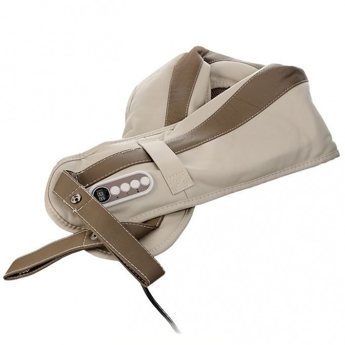 Массажер для шеи и плеч Bradex (Брадекс) Здоровая спина (Wrap Neck and Shoulder Massager)Вибрационные массажеры для шеи и плеч <br>Массажер для шеи и плеч Bradex Здоровая спина (Wrap Neck)<br> <br>Придя с работы, можете посвятить 10 минут процедуре профилактического массажа, не отрываясь при этом от чтения любимой книги или просмотра нового фильма. Расслабляющий массаж накидки Здоровая спина не наносит вреда здоровью. Ее можно располагать так, как вам удобно: на шее, плечах, талии или бедрах.<br> <br><br>  <br><br><br><br>  <br><br><br>Преимущества Bradex Здоровая спина<br> <br>- Способствует снятию боли и напряжения в области плеч и спины, улучшает кровообращение, оказывает релаксирующее воздействие.<br> <br>- Имеет 1 автоматический и 15 ручных режимов массажа, которым присущи соответствующие функции и ритм. 9 разных уровней силы постукивания позволяют точно регулировать процесс.<br> <br>- Автоматический режим рассчитан на 10 минут массажа.<br> <br>- Легкая и простая в использовании панель управления.<br> <br>- Портативная, оставляет руки свободными.<br> <br>Примеры позиционирования массажера<br> <br><br> <br>Инструкция по эксплуатации<br> <br>Вставьте вилку в розетку и включите аппарат.<br> <br>Расположите накидку таким образом, чтобы вам было комфортно.<br> <br>Выберите либо расслабляющий (нажмите « - »), либо активный массаж (нажмите « + »).<br> <br>В любой момент, как только захотите остановить процедуру, нажмите кнопку «вкл./выкл.».<br> <br>Противопоказания, предостережения, советы<br> <br>- Перед тем, как использовать Здоровую спину, внимательно прочитайте инструкцию по эксплуатации.<br> <br>- Не допускайте перегревания прибора.<br> <br>- Не используйте устройство в душе.<br> <br>- Если во время применения массажера вы почувствуете недомогания, немедленно прекратите процедуру.<br> <br>- При лечении, приеме лекарственных препаратов и во время беременности перед использованием Здоровой спины обязательно проконсультируйтесь с врачом.<br> <br>- Не применяйте аппа