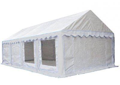 Тент-шатер Митек Гросс 4х8 м (в 4-х местах)Тенты Шатры<br><br> В этом шатре площадью 32 кв. м. комфортно разместится 36 человек.<br><br><br><br><br> Тент-шатер Гросс используется в виде выносных летних кафе, торговых павильонов или как склад для хранения инвентаря в теплый период. Для изготовления каркаса использованы прочные стальные трубки диаметром 40 мм. Они составляют нижнее основание шатра. Фиксация элементов каркаса между собой осуществляется по системе безболтового крепления и происходит посредством кнопок-защелок.<br><br><br><br><br> Тент изготовлен из особо прочной водонепроницаемой ткани с высокой стойкостью к воздействию прямых солнечных лучей. Для дополнительной устойчивости крыша скреплена усиливающими перекладинами.<br><br><br><br><br> Каркас изготовлен из прочной стальной трубы ? 40 х 1,2мм и усиленными узловыми соединениями (углами) из трубы ? 40х1,5мм, покрыт порошковой краской. Каркас шатра имеет нижнее основание и верхнюю обвязку, которые повышают прочность конструкции. Соединение узлов каркаса осуществляется по системе безболтового крепления, для фиксации элементов каркаса между собой используются кнопки-защёлки (фиксаторы).<br><br><br><br><br> Тент выполнен из прочного армированного полипропиленового водонепроницаемого материала Tarpaulin плотностью 200 гр/м2.<br><br><br> Надежность.<br><br><br><br><br> Прочный каркас из трубы д 40 мм с толщиной стенки 1,2 мм и с усиленными узловыми соединениями д 40 мм с толщиной стенки 1,5 мм.<br><br><br> Стойки сверху по длинной стороне и снизу по всему периметру соединены перекладинами.<br><br><br> Дополнительно крыша скреплена усиливающими перекладинами.<br><br><br> Тент из прочного армированного водонепроницаемого материала TARPAULIN, плотностью 250 гр/метр.кв.<br><br><br> Надежная фурнитура, прочная резинка оттяжка, крупная молния NIO с двухсторонними замками.<br><br><br> Большой угол наклона крыши.<br><br><br> Герметичные швы крыши.<br><br><br> Практичность.<br><br><br> В комплект входит 8 боковых съемн