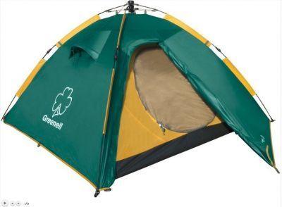 Палатка автомат Greenell Клер 3 V2Туристические палатки<br><br> Палатка с автоматическим каркасом Клер v2 - Самый быстрый переход к полноценному отдыху<br><br><br> <br> Автоматическая палатка Клер 3 весит всего 4 кг, что достаточно мало для автоматической 3х местной палатки, и потому ее без труда можно использовать в пеших походах. При этом Клер 3 очень просто и быстро устанавливается даже под дождем, что, несомненно, порадует зазевавшегося рыбака или застигнутого врасплох непогодой туриста. Такое преимущество Вы оцените по достоинству во время похода выходного дня, пикника - пока все вокруг начнут заниматься установкой палаток, Вы уже будете уверенно дегустировать-уничтожать провиант! В отличие от палатки Дингл, тамбур у которой больше, палатка Клер 3 более ориентирована в сторону достижения минимального веса. <br><br><br><br><br> Подходит для пикника, у реки или моря, для походов выходного дня и несложных пеших походов<br><br><br> .<br><br><br> Двухслойная дуговая палатка с полуавтоматическим каркасом. Один тамбур и два входа. Внутренняя палатка и тент устанавливаются одновременно. Легко ставиться одним человеком. Минимум времени для установки и сборки. Q-образный вход продублирован сеткой.<br> Улучшенная сквозная вентиляция. Проклеенные швы. Облегченная регулировка оттяжек со световозвращающей нитью.<br><br>Характеристики:<br><br><br><br><br> Вес:<br><br><br> 4,22 кг.<br><br><br><br><br> Водонепроницаемость:<br><br><br> 3000 мм.<br><br><br><br><br> Все размеры:<br><br><br> Внешняя палатка 215(Д)x285(Ш)x130(В) см, внутренняя палатка 215(Д)x215(Ш)x130(В) см.<br><br><br><br><br> Высота:<br><br><br> 130 см.<br><br><br><br><br> Каркас:<br><br><br> фиберглас 8,5/9,5 мм.<br><br><br><br><br> Материал внутренний:<br><br><br> Polyester 190T дышащий.<br><br><br><br><br> Материал пола:<br><br><br> армированный полиэтилен (tarpauling).<br><br><br><br><br> Материал внешний:<br><br><br> Poly Ta?eta190T PU 3000.<br><br><br><br><br> Обработка швов:<br><br><br> проклеенные швы.<br