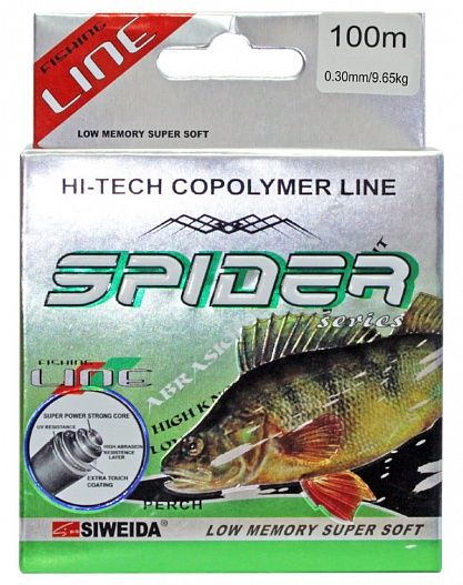 Леска Siweida Spider Perch 100м 0,3 (9,65кг) серая